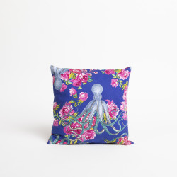 Kissen OCTOPUS WITH ROSES BLUE