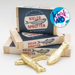 Kieler Sprotten aus Schokolade. Offizielles Souvenir der Kieler Woche.